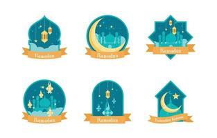 Islamic Tradition Ramadan Badges vector