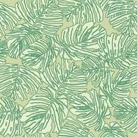 Floral leaves tropical seamless pattern vector