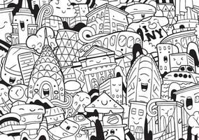 New York doodle with vector illustration