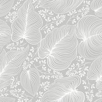 Floral line drawn artistic pattern with leaves and flowers vector