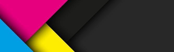 Fondo de material moderno negro con hojas de papel superpuestas en colores cmyk. plantilla para su negocio. vector de fondo de pantalla panorámica abstracta