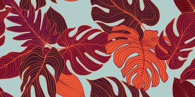 Floral seamless pattern with tropical leaves vector