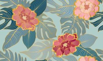 Floral seamless pattern with tropical leaves and flowers vector