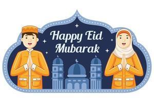 Happy Eid mubarak greeting with smiling people vector
