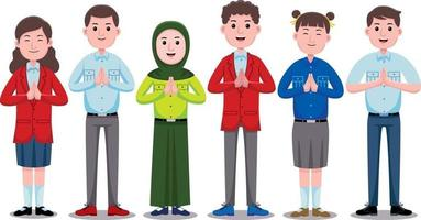 Happy Students Character in flat design style. vector