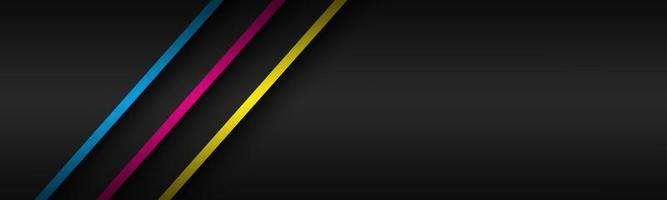 Encabezado de material moderno negro con capas superpuestas y líneas diagonales en colores cmyk. plantilla para su negocio. banner de pantalla panorámica abstracta de vector
