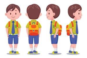 Cute School Boy carrying a backpack set vector