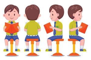 Cute School Boy With Book Set vector