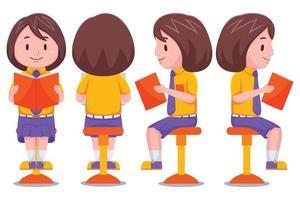 Cute School Girl With Book Set vector