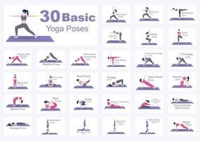 30 Yoga Poses and Fitness Exercises Illustration vector
