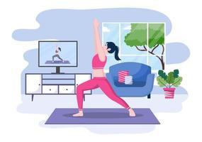 Online Lessons, Yoga and Meditation Classes Concept vector