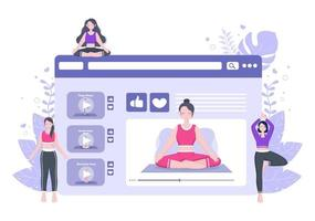lecciones en línea, concepto de clases de yoga y meditación vector