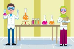Chemist profession in flat design style. vector