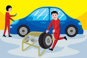 Car Mechanic profession in flat design style. vector