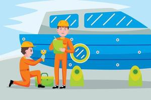 Boat mechanic profession in flat design style. vector