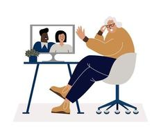 Technology for old people flat vector concept.
