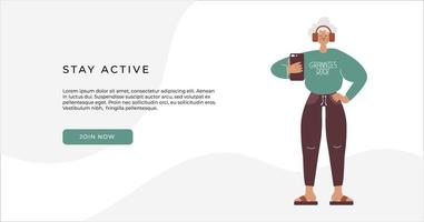 Grannies rock - fun active aging flat vector. vector