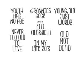 Flat vector age quotes collection for elderly.