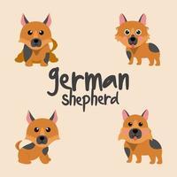 lindo juego de perro pastor alemán vector