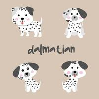 Cute Dalmatian Dog Set vector