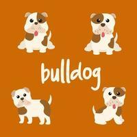 Cute Bulldog Dog Set vector