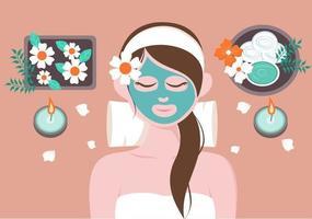 Ilustración de vector de masaje en salón de belleza