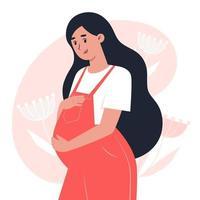 Joven embarazada con un mono abrazando el vientre con las manos, el embarazo y la maternidad vector
