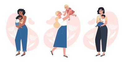 Mothers day, moms holding a small child vector