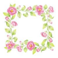 Marco de primavera acuarela de flores rosadas y ramitas verdes, hojas aisladas sobre fondo blanco. vector