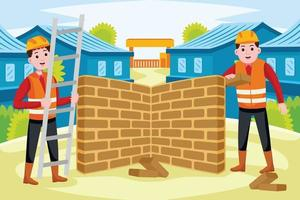 Builders profession in flat design style. vector