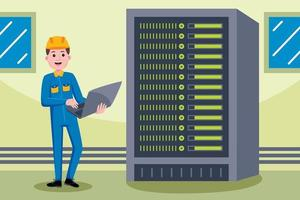 Network engineer profession in flat design style. vector