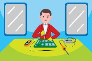 Electronic Technician profession in flat design style. vector