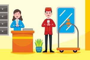 Hotel receptionist profession in flat design style. vector