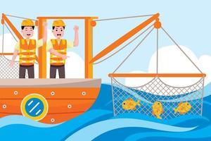 Profesión de pescador en estilo de diseño plano. vector