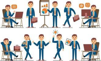 Businessman Profession Character Set vector