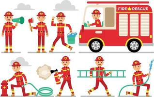 Firefighter Profession Character Set vector