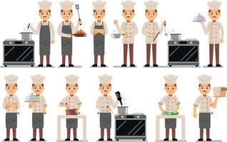 conjunto de caracteres de profesión de chef vector