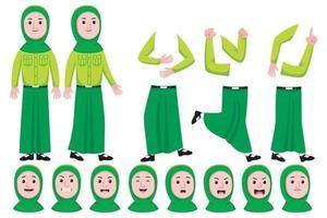 Woman Student Flat Character Creation Set vector