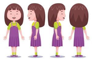personaje de niña linda en diferentes poses 2 vector
