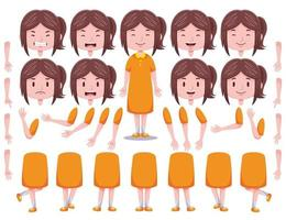Front View Cute Girl Character Creation Set 4 vector