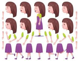 Left View Cute Girl Character Creation Set 2 vector