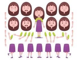 Front View Cute Girl Character Creation Set 2 vector