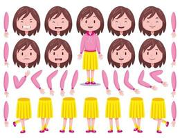 Front View Cute Girl Character Creation Set 3 vector