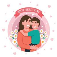Mother Carrying Kid On Mother's Day vector