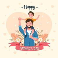 Father Carrying Kids in Father's Day vector