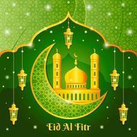 Elegant Green Gold Eid Al Fitr Concept vector