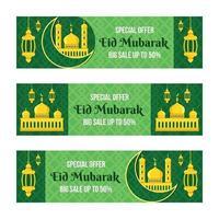 conjunto de banners de herramientas de marketing de eid mubarak verde vector