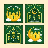 colorida colección de tarjetas eid mubarak vector