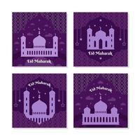 colección de tarjetas eid mubarak silueta púrpura vector