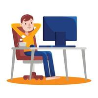 Man Working with Computer at Home - 7 vector